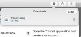 Click the Tresorit installer in the top right corner of your browser.